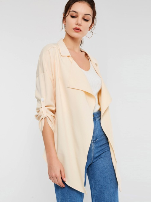 Notched Lapel Mid-Length Plain Women's Trench Coat