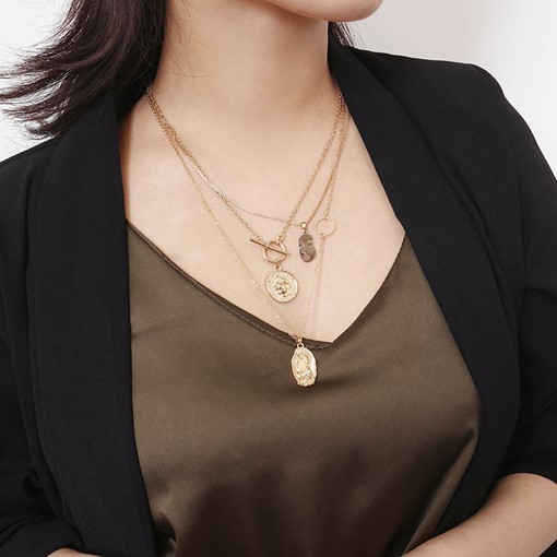 Gold Layered Vintage Figure Pendant Coin Necklace