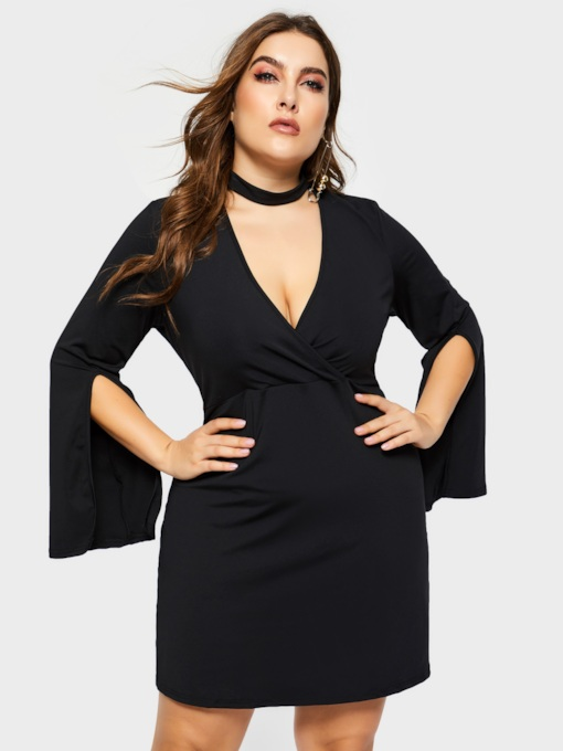 Plus Size V-Neck Long Sleeve Sexy Women's Long Sleeve Dress