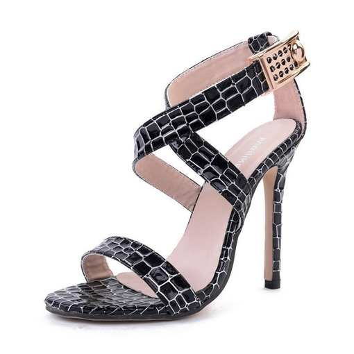 Animal Print Stiletto Heel Open Toe Buckle Casual Women's Sandals
