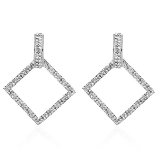 Square Full Drill Claw Chain Party Drop Earrings