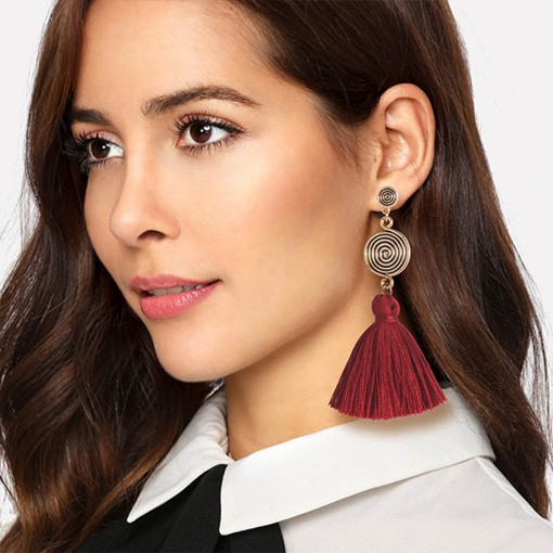 Tassel Spiral Shape Bohemian Drop Earrings