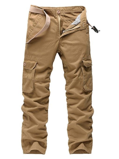 Plain Straight Pocket Men's Casual Pants
