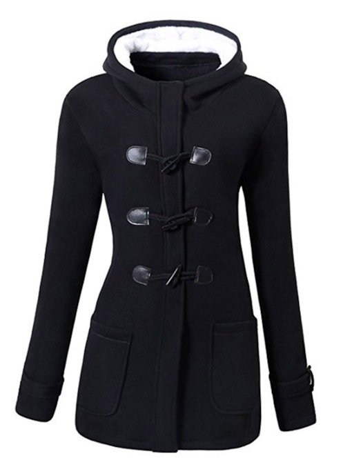 Horn Button Dual Pocket Women's Overcoat