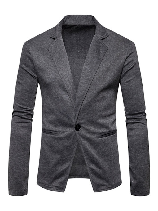 Slim One Button Casual Plain Men's Blazer
