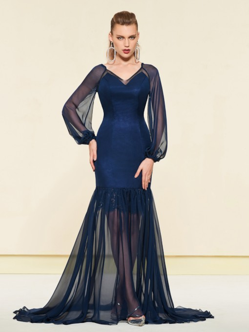 Trumpet Floor-Length Long Sleeves V-Neck Evening Dress
