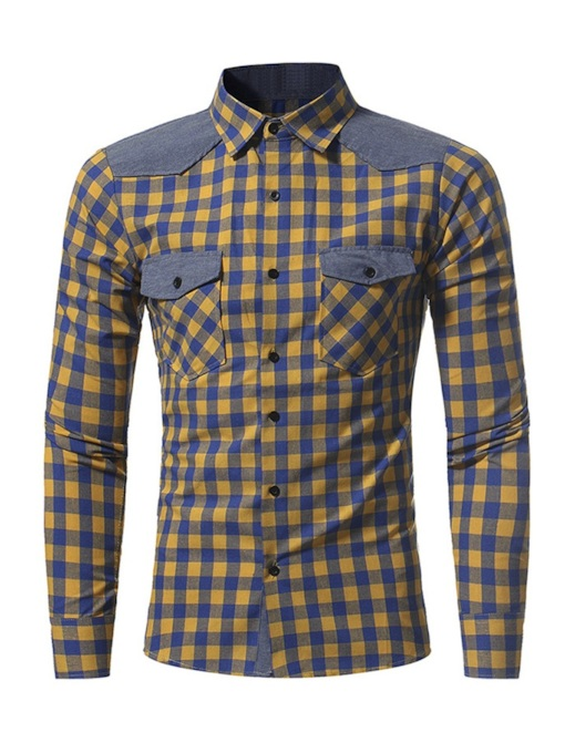 Casual Lapel Plaid Men's Shirt