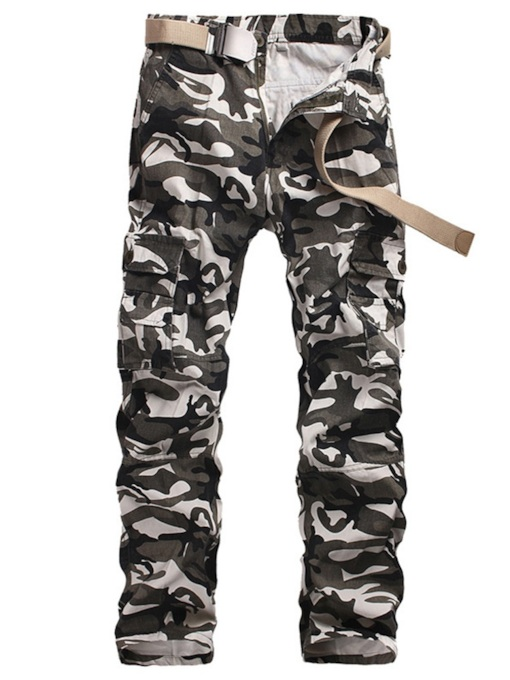 Straight Camouflage Print Men's Casual Pants