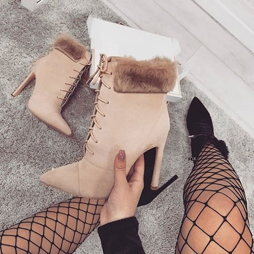 Plain Pointed Toe Lace-Up Front Stiletto Heel Purfle Ankle Boots