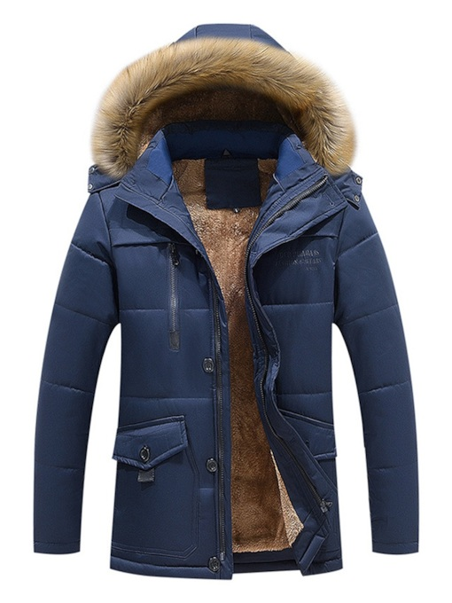 Fleece Lining Plain Zipper Men's Parka jacket