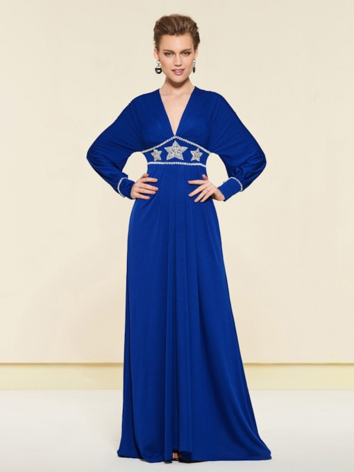 Long Sleeve Beading Plus Size Mother of the Bride Dress