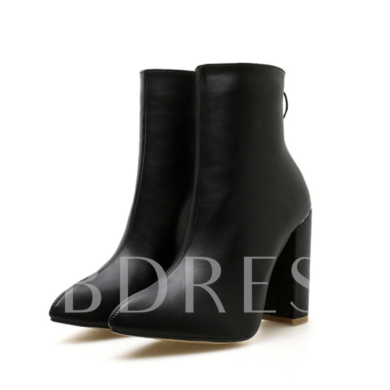 Chunky Heel Back Zip Pointed Toe Plain Buckle Ankle Boots