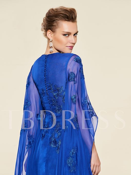 Sleeves Appliques Button Mother of the Bride Dress