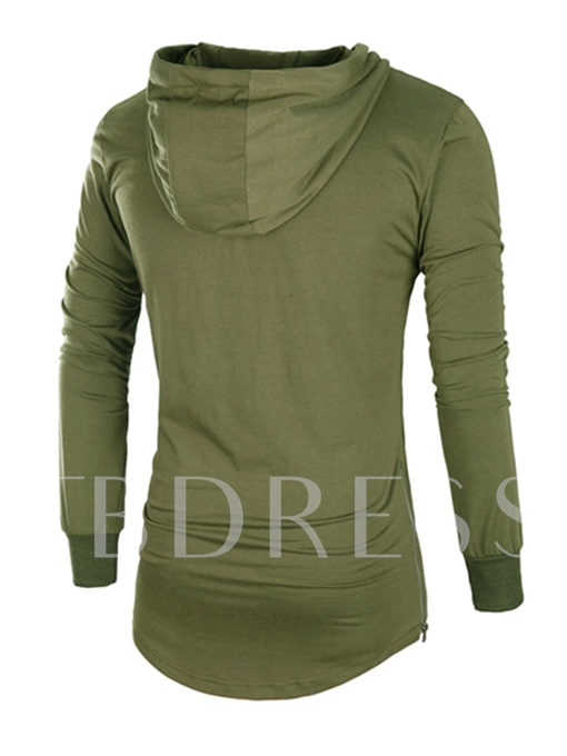 Hooded Plain European Slim Men's T-shirt