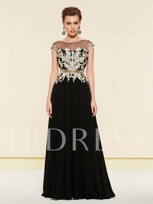 A-Line Beading Sheer Neck Appliques Mother Dress