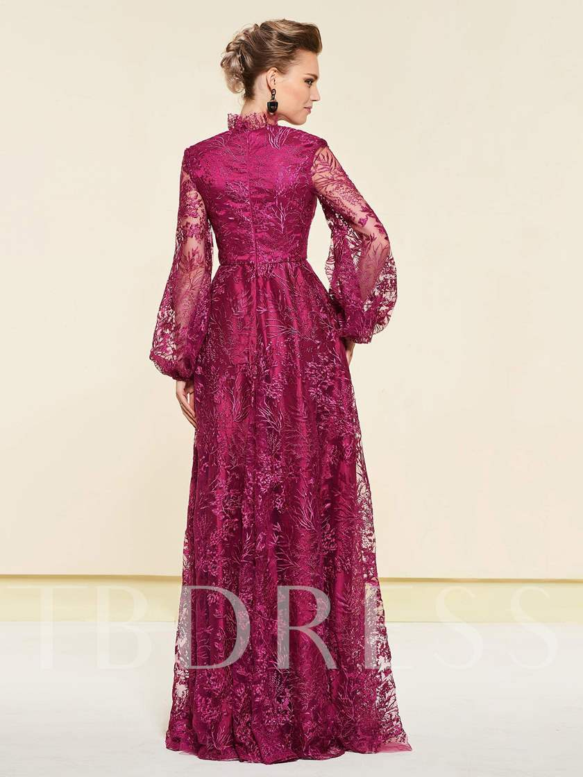 Empire Waist Lace Mother of the Bride Dress with Long Sleeves