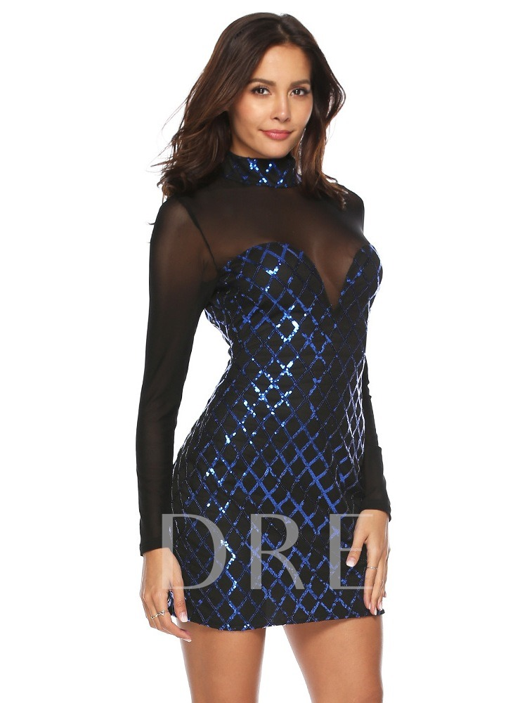 Stand Collar See-Through Sequins Women's Bodycon Dress