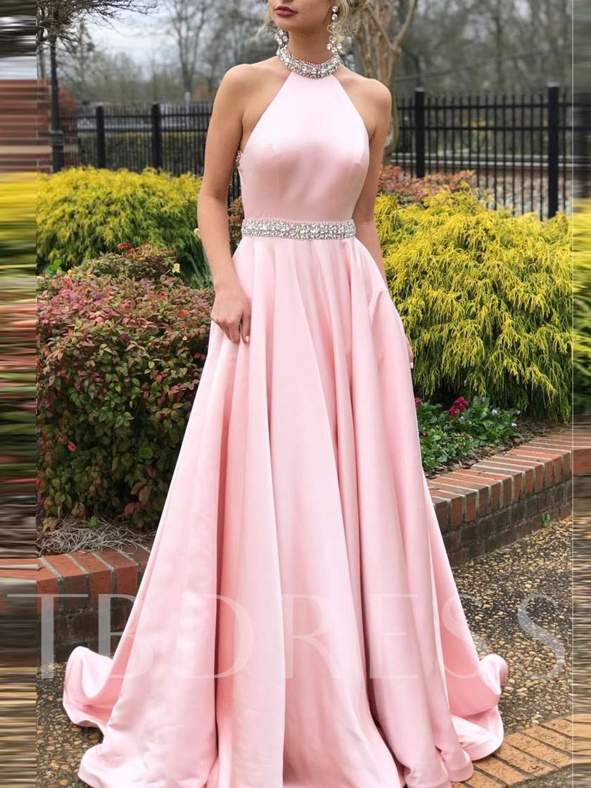 Beading Halter Backless Pink Prom Dress 2019