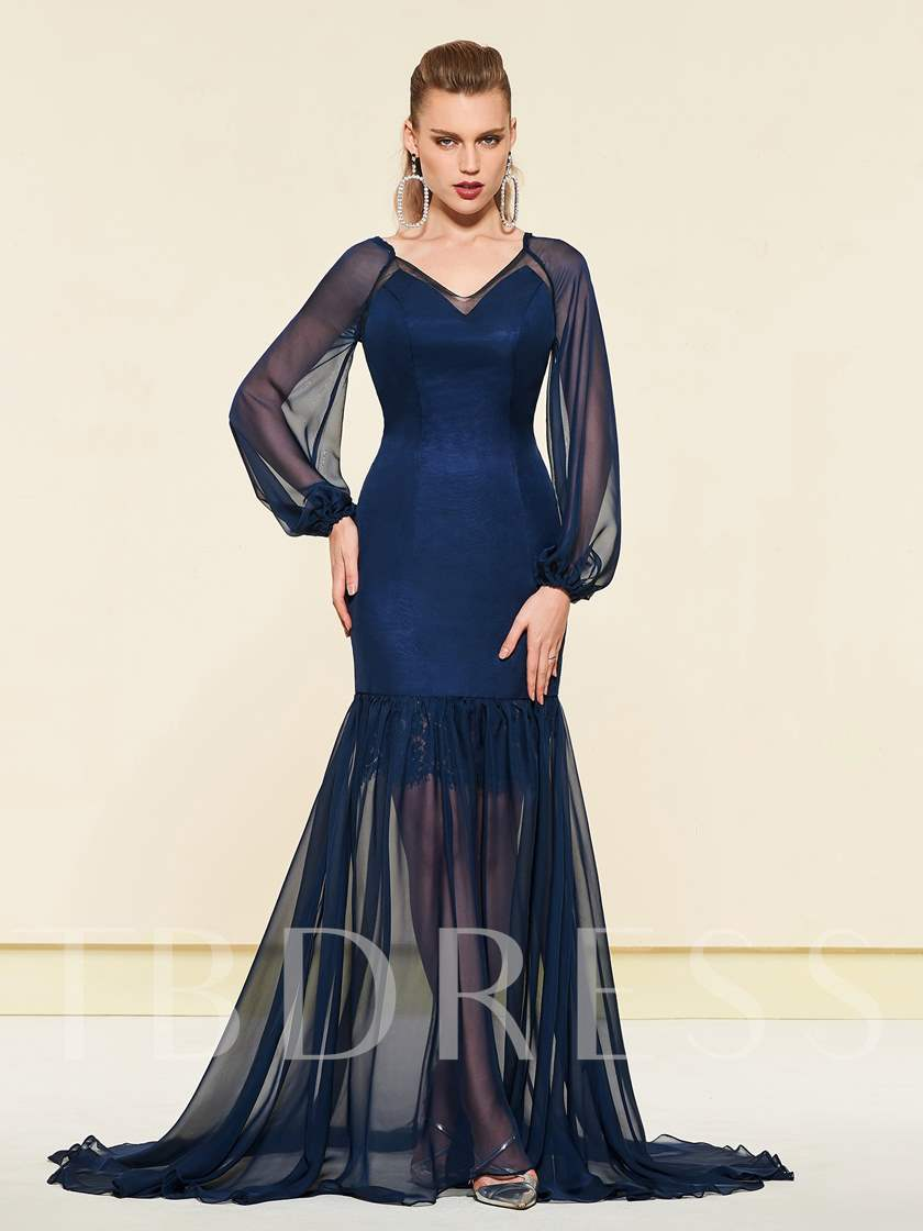 Trumpet Lace Sheer Long Sleeves Evening Dress