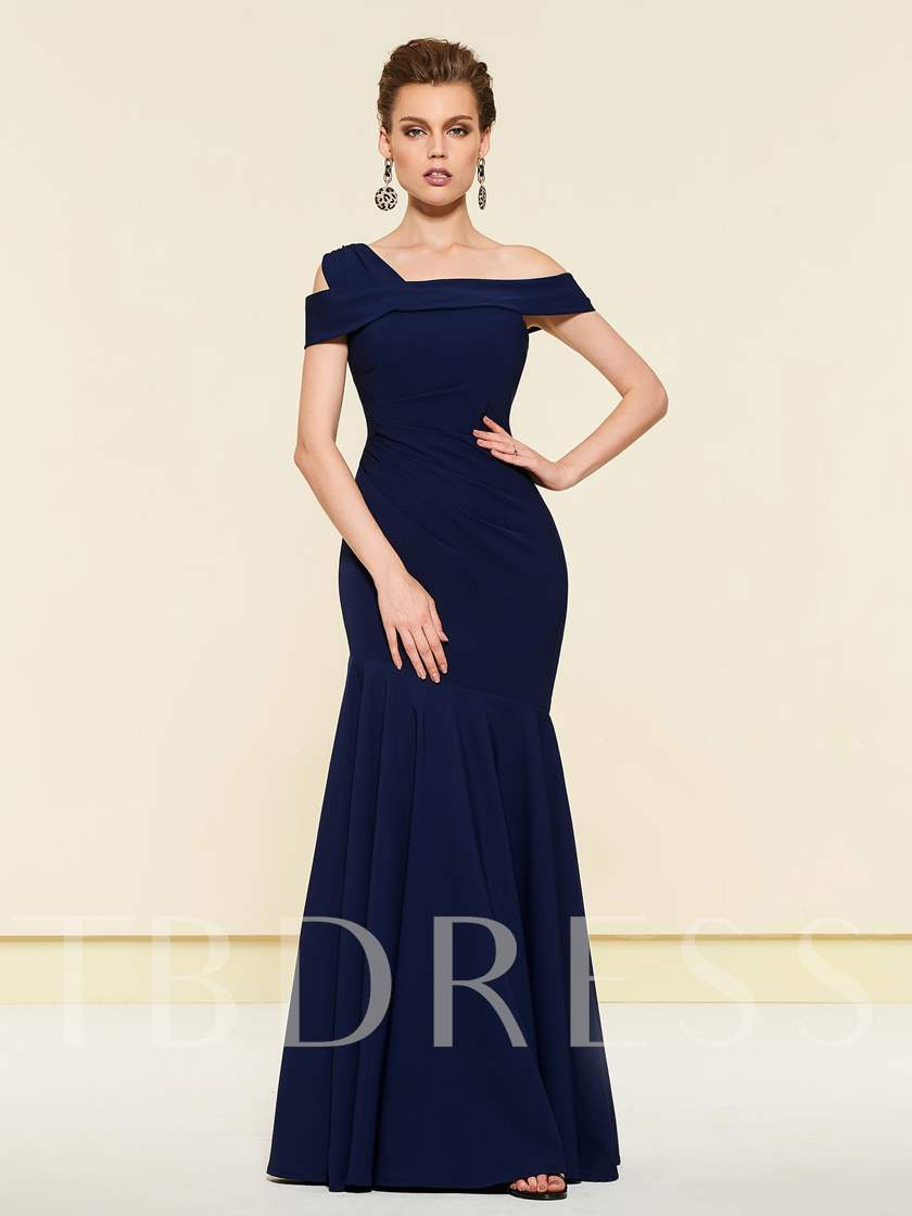 Simple Pleats Mermaid Mother of the Bride Dress 2019