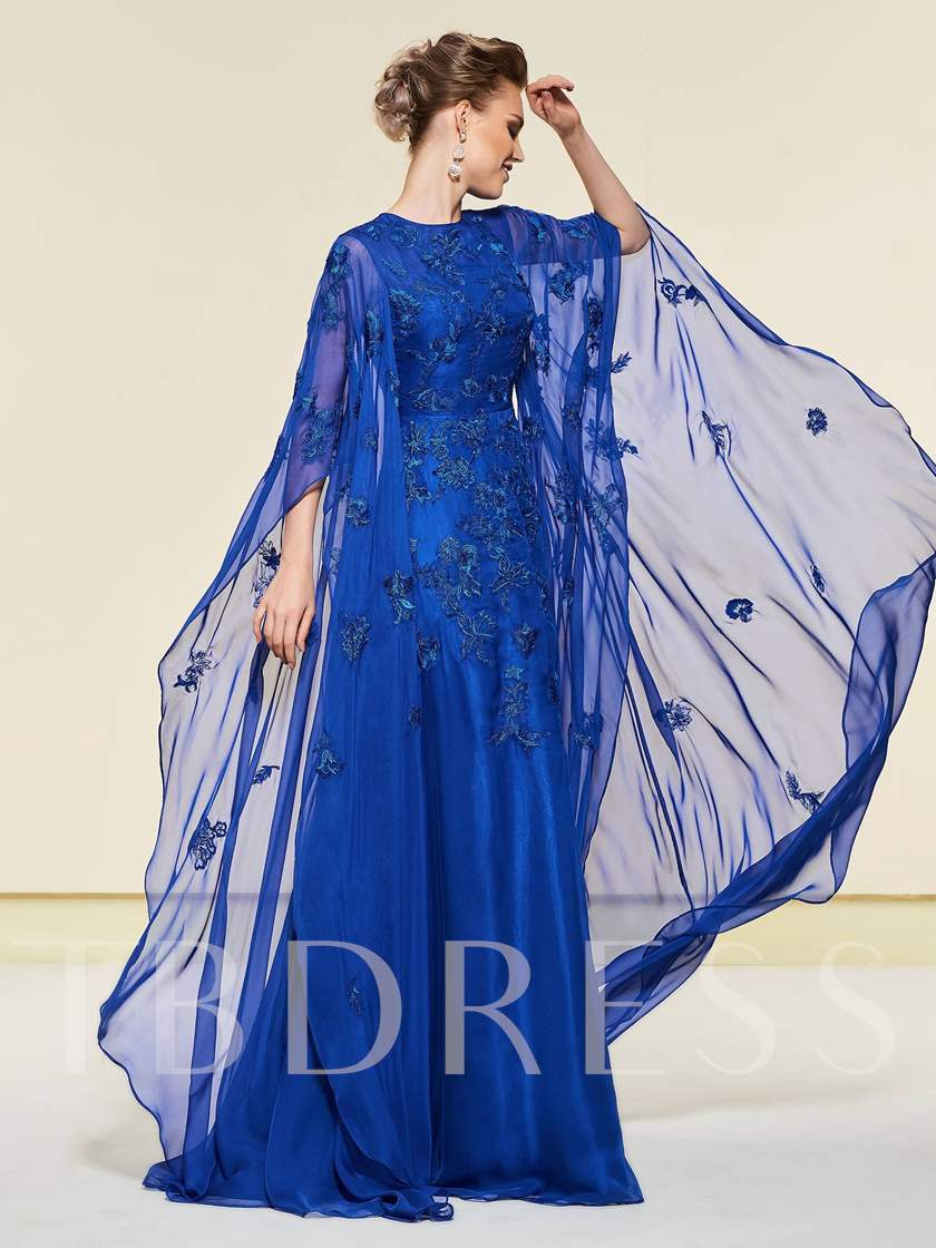 Appliques Button Mother of the Bride Dress 2019 with Sleeve