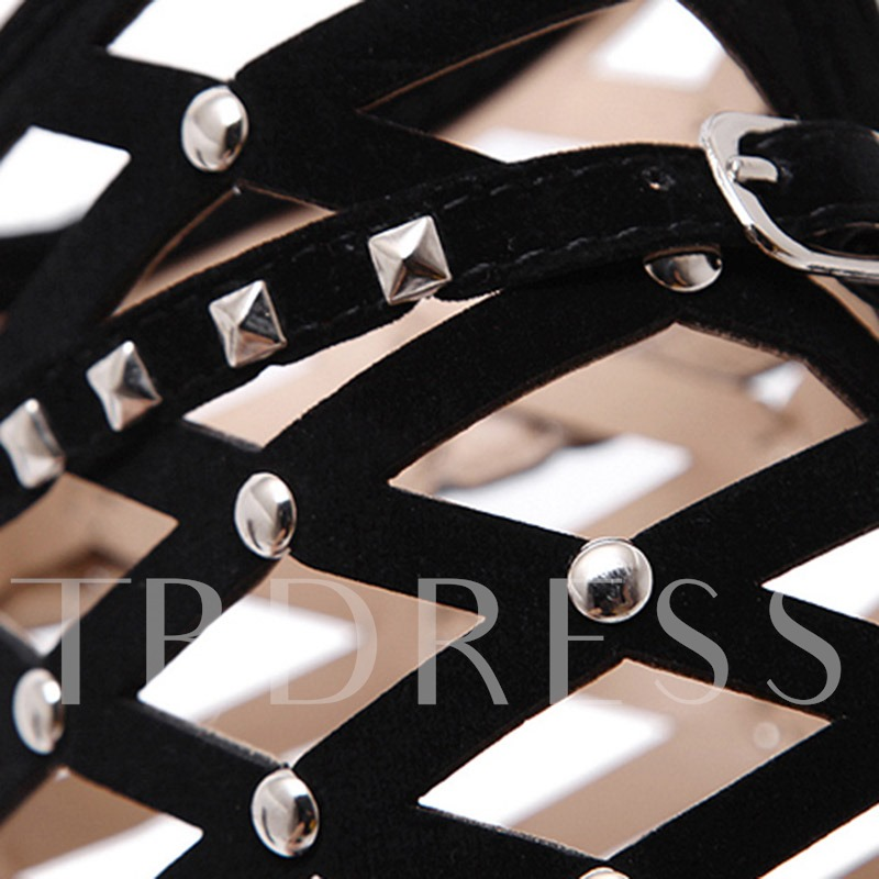 Pointed Toe Side Zipper Stiletto Heel Rivet Sexy Sandals Boots