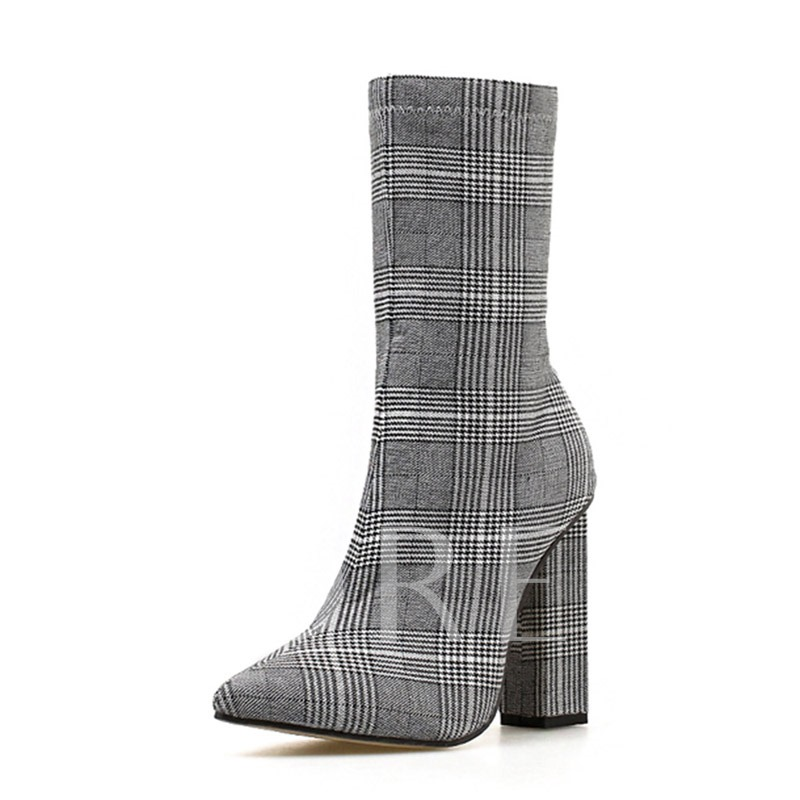 Plaid Chunky Heel Pointed Toe Side Zipper Cotton Ankle Boots