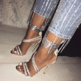 Open Toe Lace-Up Stiletto Heel Strappy Women's Sandals