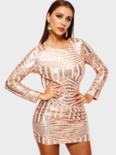Sequins Long Sleeve Backless Women's Party Dress