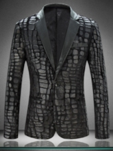 Slim One Button Animal Printed Notched Lapel Men's Blazer