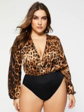 Plus Size Leopard Short Sexy Print Slim Women's Rompers