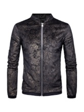 Stand Collar Floral Printed Zipper Men's Jacket