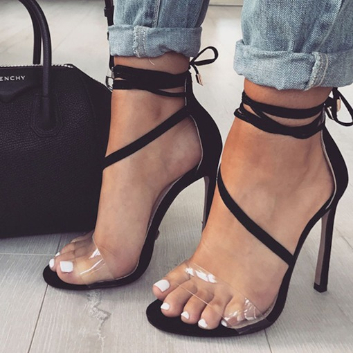 Stiletto Heel Lace-Up Open Toe Heel Covering Sexy Sandals