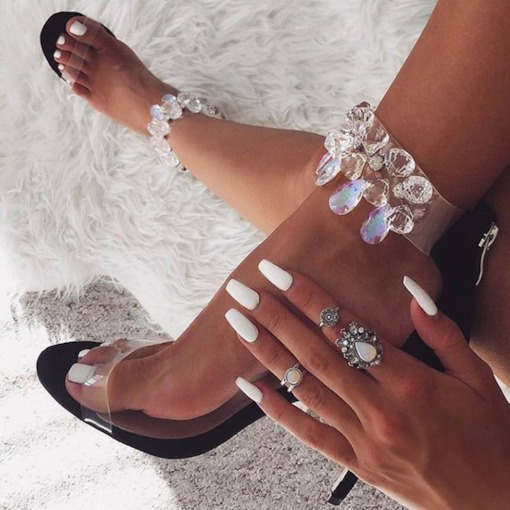Open Toe Zipper Stiletto Heel See-Through Rhinestone Sandals