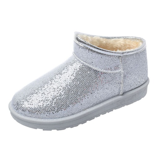 Plain Slip-On Platform Round Toe Sequin Women's Snow Boots