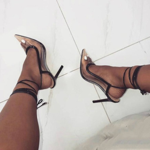 Pointed Toe Stiletto Heel Lace-Up Slingback Strap Women's Sandals
