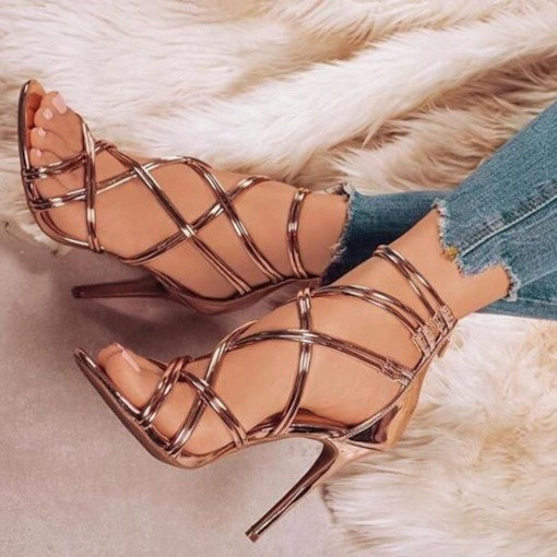 Zipper Open Toe Heel Covering Stiletto Heel Cross Strap Women's Sandals