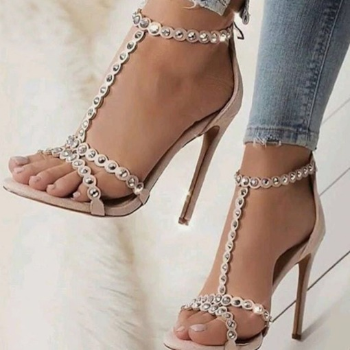 Rivet Zipper Open Toe Heel Covering Stiletto Heel Women's Sandals