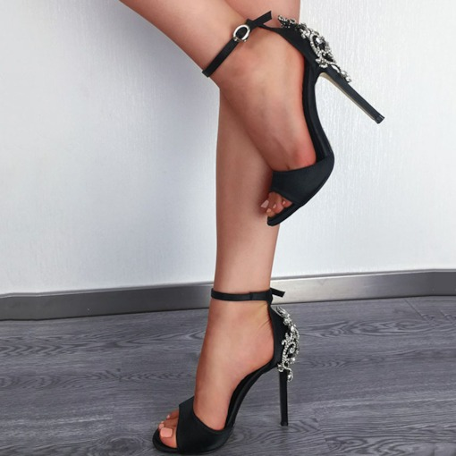 Rhinestone Line-Style Buckle Stiletto Heel Open Toe Women's Sandals