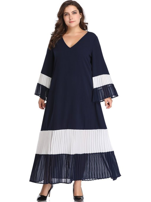 Plus Size V-Neck Long Sleeve Expansion Women's Maxi Dress