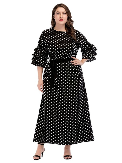 Plus Size Lace-Up Polka Dots A-Line Women's Maxi Dress