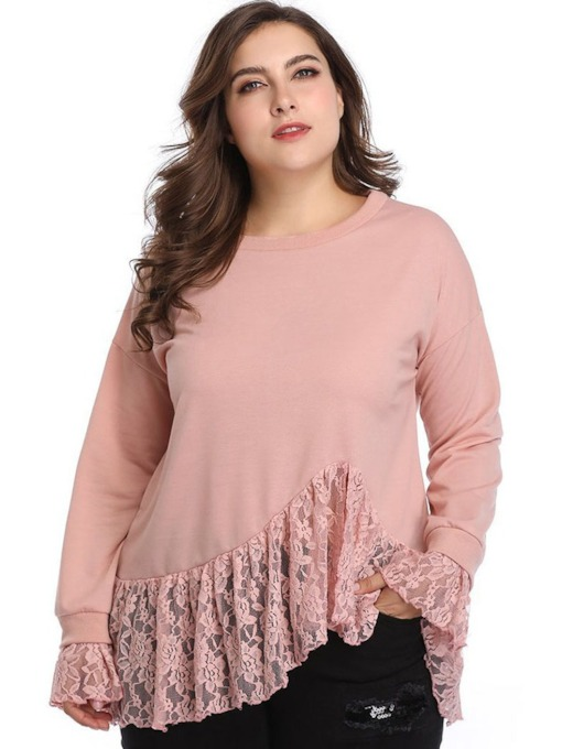 Round Neck Lace Flare Sleeve Plus Size Women's Blouse