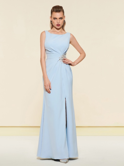 Straps Split-Front Beading Sheath Evening Dress