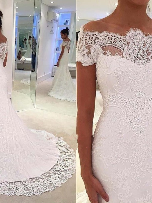 Mermaid Off the Shoulder Lace Wedding Dress