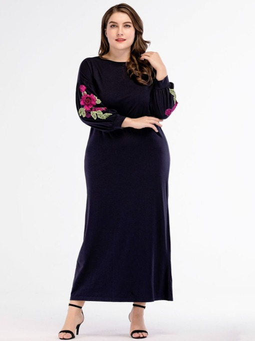 Plus Size Embroidery Round Neck Floral Women's Maxi Dress