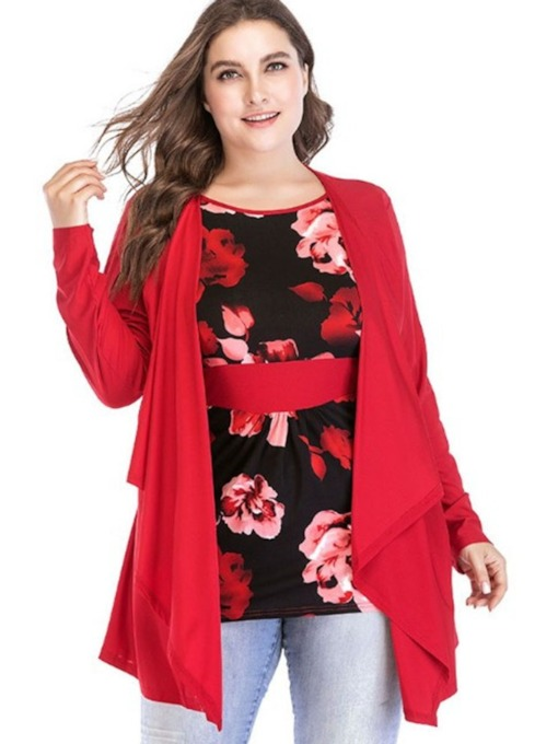 Double-Layer Asymmetric Floral Plus Size Women's Blouse