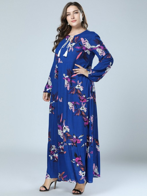Plus Size Print Floral Long Sleeve Women's Maxi Dress