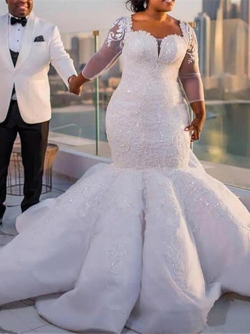 Sequins Appliques Mermaid Plus Size Wedding Dress with Long Sleeve