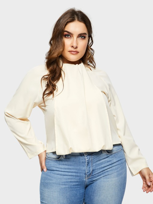 Plain Plus Size Pullover Women's Blouse