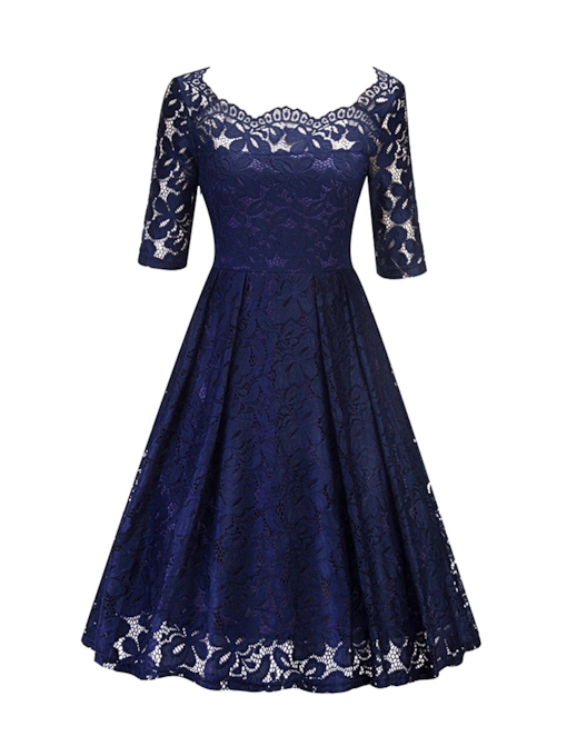 See-Through Half Sleeve Spring Embroidery Women's Lace Dress